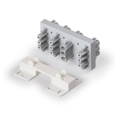 Распределительный блок 1 фаза, 7 выходов, серый