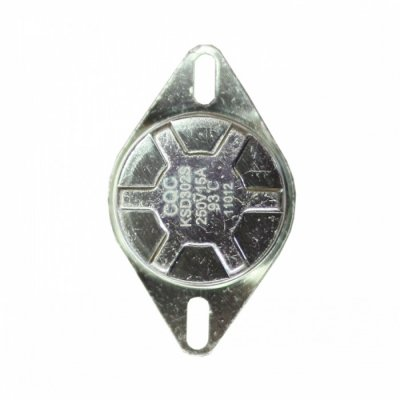 Термостат защитный на 93oС. (Круглый корпус, биметаллический, ручной возврат, 15A)  (SpT066160,замена для SpT066064)